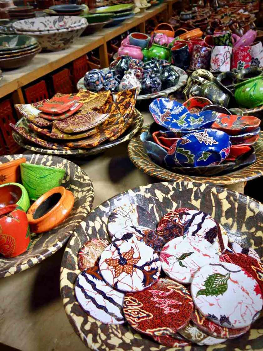 All kind of colorful products made out of pottery