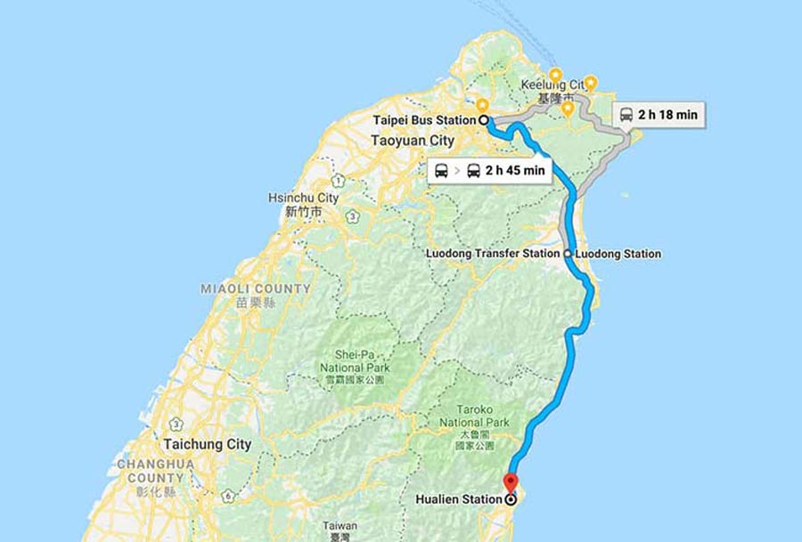 Map-of-trains-route-Taipei-to-Hualien