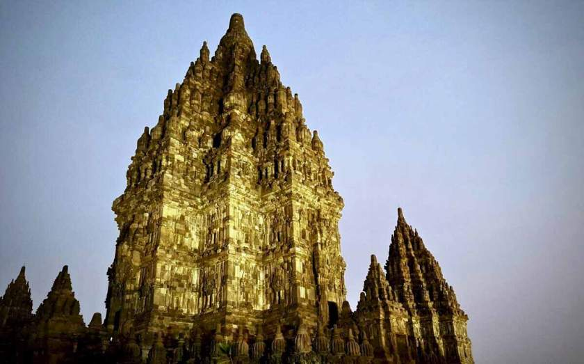 Prambanan temple in the night