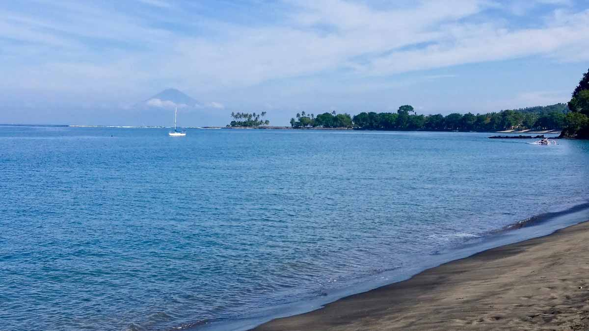 Seaview of Senggigi, with Mount Batur from afar