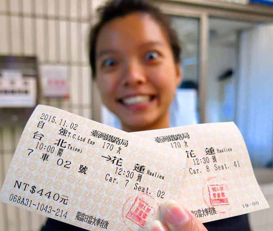 Taipei-Hualien-Train-ticket-stubs