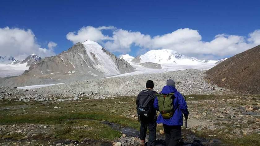 Preparing to trek to Olgiy peak, Tavan Bogd mountain