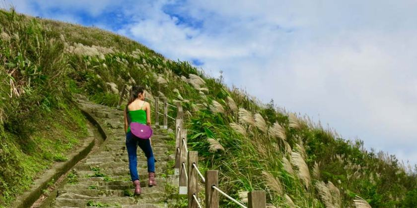 Taking a hike up Keelung hill in Taiwan