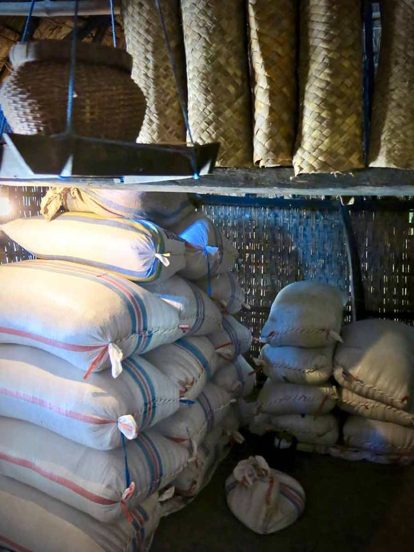 Rice stacked neatly in the house