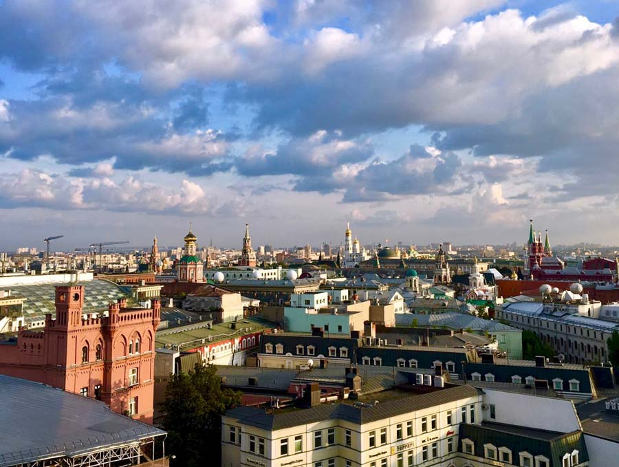 Overview of Moscow city, with Kremlin not far away