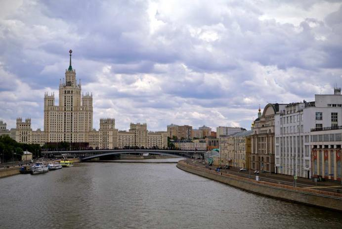 Moscow skyline 7 sisters from floating bridge